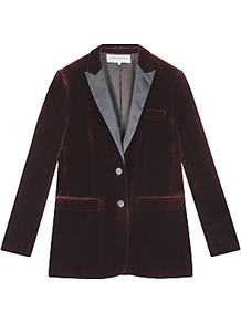 Valmy Jacket, Dark Red - pattern: plain; style: single breasted blazer; collar: standard lapel/rever collar; predominant colour: burgundy; occasions: evening; length: standard; fit: tailored/fitted; fibres: cotton - 100%; sleeve length: long sleeve; sleeve style: standard; collar break: medium; pattern type: fabric; texture group: velvet/fabrics with pile; season: a/w 2016; wardrobe: event