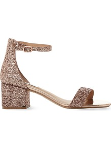 Irenee Rose Gold Glitter Block Heel Sandals, Women's, Eur 40 / 7 Uk Women, Rose Gold Synthetic - predominant colour: gold; occasions: evening, occasion; material: faux leather; heel height: flat; embellishment: glitter; ankle detail: ankle strap; heel: block; toe: open toe/peeptoe; style: strappy; finish: metallic; pattern: plain; season: a/w 2016; wardrobe: event; trends: sparkle