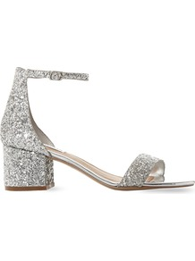 Irenee Glitter Block Heel Sandals, Women's, Eur 38 / 5 Uk Women, Silver - predominant colour: silver; occasions: evening, occasion; material: faux leather; heel height: flat; embellishment: glitter; ankle detail: ankle strap; heel: block; toe: open toe/peeptoe; style: strappy; finish: metallic; pattern: plain; season: a/w 2016; wardrobe: event; trends: sparkle