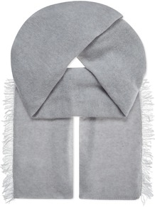 Cashmere Scarf, Women's, Light Grey - predominant colour: light grey; occasions: casual, creative work; type of pattern: standard; style: regular; size: standard; material: fabric; embellishment: fringing; pattern: plain; wardrobe: basic; season: a/w 2016