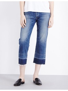Cora Cropped Mid Rise Stretch Denim Jeans, Women's, Fade Out - style: skinny leg; pattern: plain; pocket detail: traditional 5 pocket; waist: mid/regular rise; predominant colour: denim; occasions: casual; length: calf length; fibres: cotton - 100%; jeans detail: whiskering, washed/faded; pattern type: fabric; texture group: other - light to midweight; season: a/w 2016; wardrobe: highlight