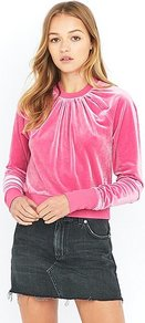 Vinyl Pink Velour Sweatshirt, Pink - pattern: plain; style: sweat top; bust detail: ruching/gathering/draping/layers/pintuck pleats at bust; predominant colour: pink; occasions: casual, creative work; length: standard; fibres: polyester/polyamide - stretch; fit: body skimming; neckline: crew; sleeve length: long sleeve; sleeve style: standard; pattern type: fabric; texture group: velvet/fabrics with pile; season: a/w 2016; wardrobe: highlight