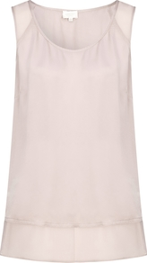 Amber Top Almond - sleeve style: standard vest straps/shoulder straps; pattern: plain; style: vest top; predominant colour: ivory/cream; length: standard; neckline: scoop; fibres: silk - 100%; fit: straight cut; sleeve length: sleeveless; texture group: silky - light; pattern type: fabric; occasions: creative work; wardrobe: basic; season: a/w 2016