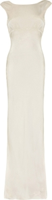 Salma Dress Ivory - neckline: slash/boat neckline; sleeve style: capped; pattern: plain; style: maxi dress; length: ankle length; predominant colour: ivory/cream; occasions: evening; fit: body skimming; fibres: silk - 100%; sleeve length: sleeveless; texture group: silky - light; pattern type: fabric; season: a/w 2016; wardrobe: event