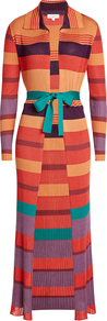 Ribbed Cardigan With Cotton - neckline: shirt collar/peter pan/zip with opening; pattern: horizontal stripes; secondary colour: emerald green; predominant colour: bright orange; occasions: casual; style: standard; fit: slim fit; waist detail: belted waist/tie at waist/drawstring; sleeve length: long sleeve; sleeve style: standard; texture group: knits/crochet; length: ankle length; pattern type: knitted - fine stitch; fibres: viscose/rayon - mix; pattern size: big & busy (top); multicoloured: multicoloured; season: a/w 2016; wardrobe: highlight