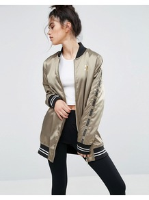 Lounge Silk Bomber Jacket Capers - fit: loose; style: bomber; predominant colour: taupe; secondary colour: black; occasions: casual; fibres: polyester/polyamide - 100%; length: mid thigh; collar: shirt collar/peter pan/zip with opening; sleeve length: long sleeve; sleeve style: standard; texture group: silky - light; collar break: high/illusion of break when open; pattern type: fabric; pattern size: standard; pattern: patterned/print; season: a/w 2016; wardrobe: highlight