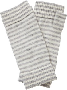 Bree Cashmere Mittens, Heather Dove/Soft White - predominant colour: white; secondary colour: light grey; occasions: casual; type of pattern: light; style: fingerless; length: wrist; material: knits; pattern: striped; season: a/w 2016; wardrobe: highlight