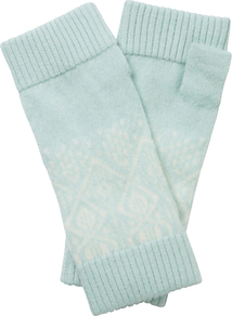 Christina Cashmere Mittens, Opal/Soft White - predominant colour: light grey; occasions: casual; type of pattern: standard; style: fingerless; length: wrist; material: knits; pattern: plain; wardrobe: basic; season: a/w 2016