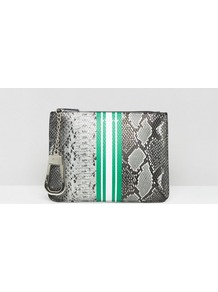 Okapi Faux Snake Print Clutch Bag Multi - secondary colour: white; predominant colour: mid grey; occasions: casual; type of pattern: heavy; style: clutch; length: hand carry; size: standard; material: faux leather; pattern: animal print; finish: plain; multicoloured: multicoloured; season: a/w 2016; wardrobe: highlight