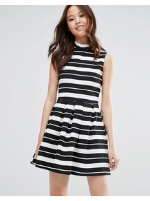 Skater Dress In Stripe Black/White - length: mid thigh; sleeve style: sleeveless; neckline: high neck; pattern: striped; secondary colour: white; predominant colour: black; occasions: evening; fit: fitted at waist & bust; style: fit & flare; fibres: polyester/polyamide - stretch; sleeve length: sleeveless; pattern type: fabric; texture group: jersey - stretchy/drapey; multicoloured: multicoloured; season: a/w 2016; wardrobe: event