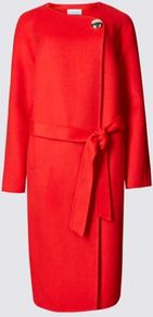 Wool Blend Belted Coat With Wool - pattern: plain; collar: round collar/collarless; length: on the knee; style: wrap around; predominant colour: true red; occasions: casual, creative work; fit: straight cut (boxy); fibres: wool - mix; waist detail: belted waist/tie at waist/drawstring; sleeve length: long sleeve; sleeve style: standard; collar break: high; pattern type: fabric; texture group: woven bulky/heavy; season: a/w 2016; wardrobe: highlight