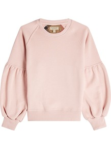 Cotton Sweatshirt With Voluminous Sleeves Pink - pattern: plain; style: sweat top; sleeve style: balloon; predominant colour: blush; occasions: casual; length: standard; fibres: cotton - 100%; fit: loose; neckline: crew; sleeve length: long sleeve; pattern type: fabric; texture group: jersey - stretchy/drapey; wardrobe: basic; season: a/w 2016