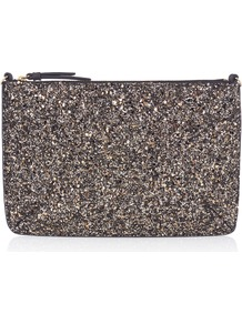 Pricilla Glitter Pouch - predominant colour: silver; occasions: evening; type of pattern: standard; style: clutch; length: hand carry; size: standard; material: faux leather; embellishment: glitter; pattern: plain; finish: metallic; season: a/w 2016; wardrobe: event