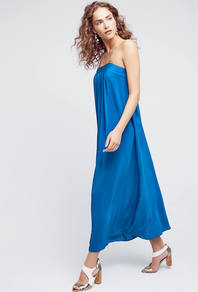 North Star Silk Maxi Dress, Blue - neckline: strapless (straight/sweetheart); pattern: plain; style: maxi dress; sleeve style: strapless; length: ankle length; predominant colour: diva blue; occasions: evening; fit: soft a-line; fibres: polyester/polyamide - 100%; sleeve length: sleeveless; texture group: silky - light; pattern type: fabric; season: a/w 2016; wardrobe: event