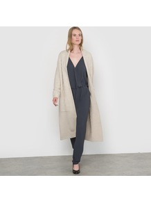 Long Coat Style Cardigan - pattern: plain; collar: round collar/collarless; fit: loose; length: calf length; predominant colour: stone; occasions: casual, creative work; style: cocoon; fibres: wool - mix; sleeve length: long sleeve; sleeve style: standard; texture group: knits/crochet; collar break: low/open; pattern type: knitted - other; wardrobe: basic; season: a/w 2016