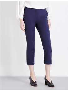 Cropped Mid Rise Cotton Blend Trousers, Women's, Midnight Blue - pattern: plain; waist: mid/regular rise; predominant colour: royal blue; occasions: evening; length: calf length; fibres: cotton - stretch; fit: slim leg; pattern type: fabric; texture group: woven light midweight; style: standard; pattern size: standard (bottom); season: a/w 2016; wardrobe: event