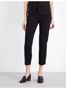 Alpe Tapered Stretch Wool Trousers, Women's, Black - pattern: plain; waist: mid/regular rise; predominant colour: black; occasions: casual, creative work; length: calf length; fibres: wool - stretch; fit: tapered; pattern type: fabric; texture group: woven light midweight; style: standard; pattern size: standard (bottom); wardrobe: basic; season: a/w 2016
