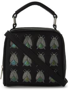 Holey Bug Embellished Cross Body Bag, Women's, Black - secondary colour: mid grey; predominant colour: black; occasions: casual, creative work; type of pattern: light; style: tote; length: shoulder (tucks under arm); size: standard; material: leather; finish: plain; pattern: patterned/print; season: a/w 2016; wardrobe: highlight