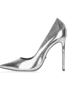 Gamble High Point Court Shoes - predominant colour: silver; occasions: evening, occasion; material: leather; heel: stiletto; toe: pointed toe; style: courts; finish: patent; pattern: plain; heel height: very high; trends: glossy girl, rebel girl; season: a/w 2016; wardrobe: event