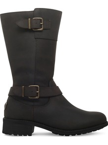 Tisdale Leather Boots, Women's, Eur 41 / 8 Uk Women, Dark Brown - predominant colour: black; occasions: casual, creative work; material: leather; heel height: flat; embellishment: buckles; heel: standard; toe: round toe; boot length: mid calf; style: standard; finish: plain; pattern: colourblock; shoe detail: platform; season: a/w 2016; wardrobe: highlight