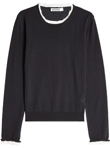 Fleece Wool Pullover With Contrast Trim Black - neckline: round neck; pattern: plain; style: standard; predominant colour: black; occasions: casual, work, creative work; length: standard; fibres: wool - 100%; fit: standard fit; sleeve length: long sleeve; sleeve style: standard; texture group: knits/crochet; pattern type: knitted - fine stitch; wardrobe: basic; season: a/w 2016