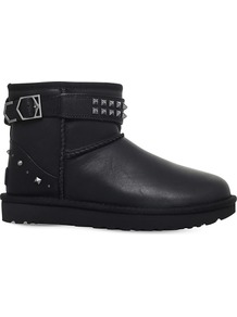 Neva Deco Studs Sheepskin Boots, Women's, Eur 41 / 8 Uk Women, Black - predominant colour: black; occasions: casual, creative work; material: leather; heel height: flat; embellishment: studs; heel: block; toe: round toe; boot length: ankle boot; style: biker boot; finish: plain; pattern: plain; shoe detail: platform with tread; season: a/w 2016; wardrobe: highlight