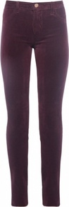 Skinny Velvet Jeans - style: skinny leg; length: standard; pattern: plain; waist: high rise; pocket detail: traditional 5 pocket; predominant colour: aubergine; occasions: casual, evening, creative work; fibres: cotton - stretch; texture group: denim; pattern type: fabric; season: a/w 2016; wardrobe: highlight; trends: velvet