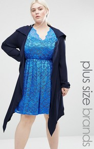 Plus Jacket Navy - pattern: plain; collar: shawl/waterfall; fit: loose; style: boyfriend; length: below the knee; predominant colour: navy; occasions: casual; fibres: polyester/polyamide - 100%; sleeve length: long sleeve; sleeve style: standard; texture group: lace; collar break: low/open; pattern type: fabric; season: a/w 2016; wardrobe: highlight