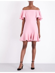 Off The Shoulder Wool And Silk Blend Mini Dress, Women's, Pink - style: shift; neckline: off the shoulder; sleeve style: angel/waterfall; fit: tailored/fitted; pattern: plain; predominant colour: pink; occasions: evening; length: just above the knee; hip detail: adds bulk at the hips; sleeve length: half sleeve; texture group: silky - light; pattern type: fabric; fibres: silk - stretch; season: a/w 2016; wardrobe: event; embellishment: frills; embellishment location: hem