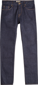 Straight Leg Jeans - style: straight leg; length: standard; pattern: plain; pocket detail: traditional 5 pocket; waist: mid/regular rise; predominant colour: navy; occasions: casual, creative work; fibres: cotton - stretch; jeans detail: dark wash; texture group: denim; pattern type: fabric; wardrobe: basic; season: a/w 2016