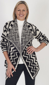 Betty Barclay Monochrome Aztec Design Waterfall Cardigan - neckline: shawl; length: below the bottom; style: open front; secondary colour: ivory/cream; predominant colour: black; occasions: casual; fibres: polyester/polyamide - mix; fit: loose; sleeve length: long sleeve; sleeve style: standard; texture group: knits/crochet; pattern type: knitted - fine stitch; pattern: patterned/print; multicoloured: multicoloured; season: a/w 2016; wardrobe: highlight