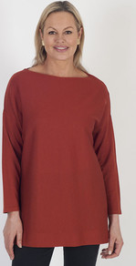 Calaluna Rust Fine Gauge Jumper - neckline: slash/boat neckline; pattern: plain; length: below the bottom; style: tunic; predominant colour: burgundy; occasions: casual; fibres: wool - 100%; fit: standard fit; sleeve length: long sleeve; sleeve style: standard; texture group: knits/crochet; pattern type: knitted - fine stitch; season: a/w 2016; wardrobe: highlight