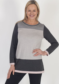 Domina Colour Block Jumper - style: standard; predominant colour: navy; secondary colour: light grey; occasions: casual; length: standard; fibres: wool - 100%; fit: standard fit; neckline: crew; sleeve length: long sleeve; sleeve style: standard; texture group: knits/crochet; pattern type: knitted - fine stitch; pattern: colourblock; multicoloured: multicoloured; season: a/w 2016; wardrobe: highlight