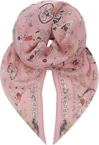 Circus Tricks Chiffon Silk Scarf, Women's, Pink Multi - predominant colour: pink; occasions: casual; type of pattern: heavy; style: regular; size: standard; material: silk; pattern: patterned/print; season: a/w 2016; wardrobe: highlight