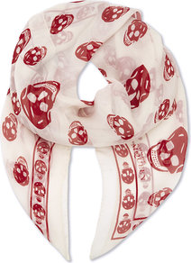 Skull Print Silk Scarf, Women's, White Burgundy - predominant colour: white; occasions: casual; type of pattern: heavy; style: square; size: large; material: silk; pattern: patterned/print; season: a/w 2016; wardrobe: highlight