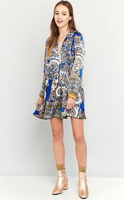 Say You Love Me Blue Mini Dress, Blue - style: smock; length: mid thigh; neckline: v-neck; fit: loose; pattern: paisley; secondary colour: white; predominant colour: royal blue; occasions: casual, creative work; fibres: polyester/polyamide - 100%; hip detail: soft pleats at hip/draping at hip/flared at hip; sleeve length: long sleeve; sleeve style: standard; texture group: crepes; pattern type: fabric; pattern size: big & busy; multicoloured: multicoloured; season: a/w 2016; wardrobe: highlight