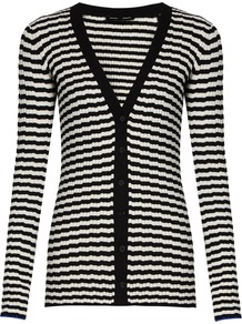 Striped V Neck Silk And Cashmere Blend Cardigan - neckline: low v-neck; pattern: horizontal stripes; hip detail: fitted at hip; back detail: contrast pattern/fabric at back; predominant colour: white; secondary colour: black; occasions: casual; length: standard; style: standard; fit: slim fit; sleeve length: long sleeve; sleeve style: standard; texture group: knits/crochet; pattern type: knitted - fine stitch; fibres: cashmere - mix; multicoloured: multicoloured; season: a/w 2016; wardrobe: highlight