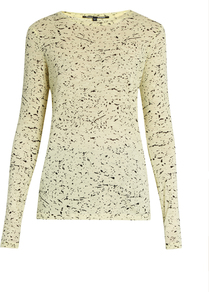 Splatter Print Cotton Jersey T Shirt - style: t-shirt; predominant colour: primrose yellow; secondary colour: black; occasions: casual, creative work; length: standard; fibres: cotton - stretch; fit: body skimming; neckline: crew; sleeve length: long sleeve; sleeve style: standard; texture group: jersey - clingy; pattern type: fabric; pattern size: standard; pattern: patterned/print; season: a/w 2016; wardrobe: highlight