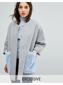 Kimono Coat With Faux Fur Pockets Grey/ Pale Blue - pattern: plain; length: below the bottom; collar: round collar/collarless; fit: loose; secondary colour: pale blue; predominant colour: light grey; occasions: casual; style: cocoon; fibres: wool - mix; sleeve length: long sleeve; sleeve style: standard; collar break: high; pattern type: fabric; texture group: woven bulky/heavy; embellishment: fur; multicoloured: multicoloured; season: a/w 2016; wardrobe: highlight