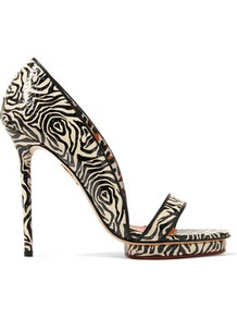 Christine Zebra Print Snake Effect Leather Sandals Zebra Print - predominant colour: black; occasions: evening, occasion; material: leather; heel: stiletto; toe: toe thongs; style: standard; finish: plain; pattern: animal print; heel height: very high; shoe detail: platform; season: a/w 2016; wardrobe: event