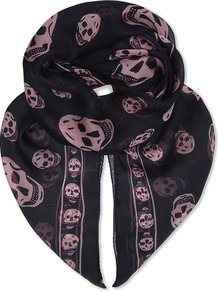 Skull Print Silk Scarf, Women's, Navy Pink - predominant colour: navy; occasions: casual; type of pattern: heavy; style: skinny; size: standard; material: silk; pattern: patterned/print; season: a/w 2016; wardrobe: highlight
