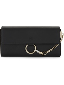 Faye Leather Continental Wallet, Women's, Black - predominant colour: black; occasions: evening, occasion; type of pattern: standard; style: clutch; length: hand carry; size: standard; material: leather; pattern: plain; finish: plain; embellishment: chain/metal; season: a/w 2016; wardrobe: event
