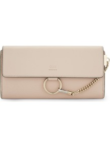 Faye Leather Continental Wallet, Women's, Light Pink - predominant colour: blush; occasions: evening, occasion; type of pattern: standard; style: clutch; length: hand carry; size: standard; material: leather; pattern: plain; finish: plain; embellishment: chain/metal; season: a/w 2016; wardrobe: event