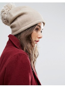 Slouchy Beanie Hat With Knitted Pom Pom Beige Tonal - predominant colour: stone; occasions: casual; type of pattern: standard; style: bobble; size: standard; material: knits; pattern: plain; embellishment: bobble; wardrobe: basic; season: a/w 2016