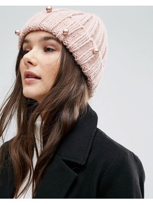 Chunky Knit Pearl Detail Beanie Hat Pale Pink - predominant colour: blush; occasions: casual; type of pattern: standard; style: beanie; size: standard; material: knits; pattern: knit; embellishment: jewels/stone; season: a/w 2016; wardrobe: highlight
