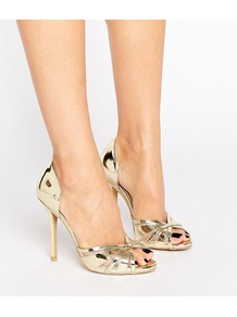 Gold Metallic Heeled Peep Toe Sandals Gold Metallic - predominant colour: gold; occasions: evening, occasion; material: faux leather; heel height: high; heel: stiletto; toe: open toe/peeptoe; style: standard; finish: metallic; pattern: plain; season: a/w 2016; wardrobe: event