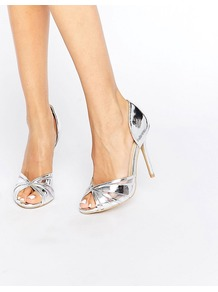 Silver Metallic Heeled Peep Toe Sandals Silver Metallic - predominant colour: silver; occasions: evening, occasion; material: faux leather; heel height: high; heel: stiletto; toe: open toe/peeptoe; style: standard; finish: metallic; pattern: plain; season: a/w 2016; wardrobe: event