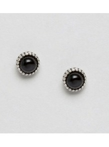 Studded Earrings Silver/Black - predominant colour: black; occasions: evening, work, occasion; style: stud; length: short; size: small/fine; material: chain/metal; fastening: pierced; finish: plain; embellishment: jewels/stone; season: a/w 2016; wardrobe: highlight