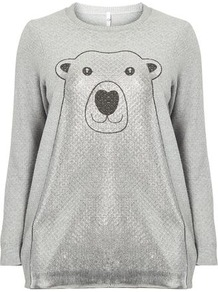 Grey Foil Polar Bear Jumper - neckline: round neck; style: standard; secondary colour: silver; predominant colour: mid grey; occasions: casual; length: standard; fibres: acrylic - mix; fit: loose; sleeve length: long sleeve; sleeve style: standard; texture group: knits/crochet; pattern type: knitted - fine stitch; pattern size: standard; pattern: patterned/print; embellishment: glitter; season: a/w 2016; wardrobe: highlight; trends: festive knits