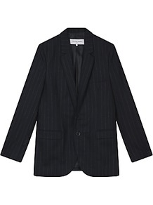 Vince Jacket, Night Blue - style: single breasted blazer; pattern: pinstripe; collar: standard lapel/rever collar; predominant colour: navy; occasions: work; length: standard; fit: tailored/fitted; fibres: cotton - 100%; sleeve length: long sleeve; sleeve style: standard; texture group: cotton feel fabrics; collar break: medium; pattern type: fabric; hip detail: front pockets at hip; wardrobe: investment; season: a/w 2016